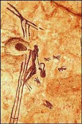 dibujo neolitico de las cuevas de Bicorp. Hombre recolectando miel.