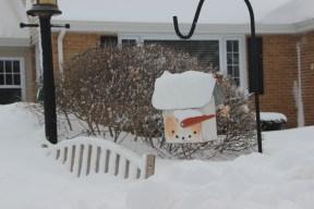 January 25, 2014. Snowman still smiling.