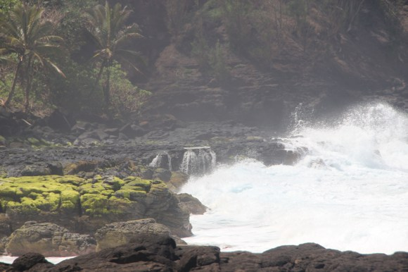 The surf was too dangerous to allow us to climb over these rocks to get to the secret lava pools.