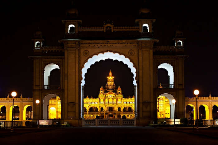A bright and glorious Mysore Palace at night
