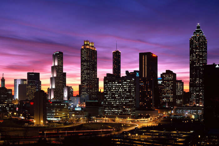 Downtown Atlanta skyline at dusk