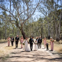 Wedding photo with gum trees
