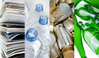 8957460-Recyclable-materials-paper-metals-plastic-and-glass-bottles-in-four-frames-Stock-Photo