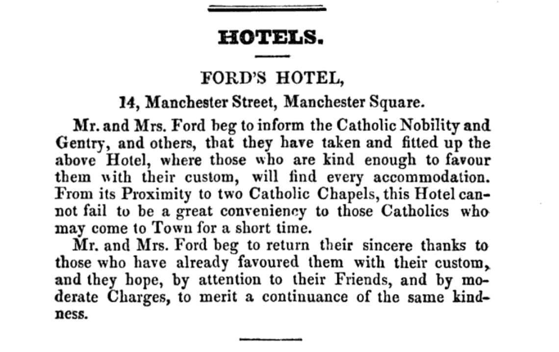 From the 1840 Catholic Directory