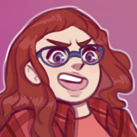 A cartoon depiction of Anne Baird, a person with red hair, blue glasses, a salmon shirt, and a red flannel over the salmon shirt.