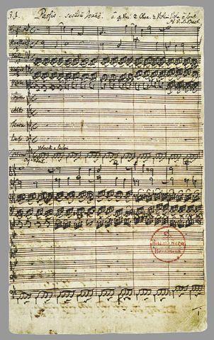 Autograph vom Anfang der Johannes-Passion