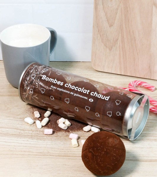 bombes chocolat chaud chamallows packaging