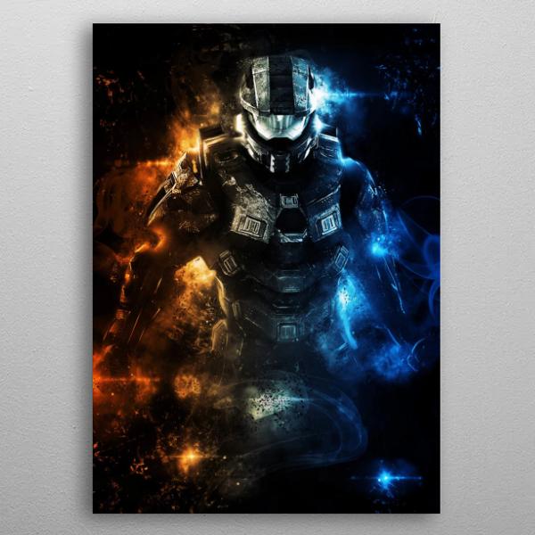 poster métal halo chef soldat