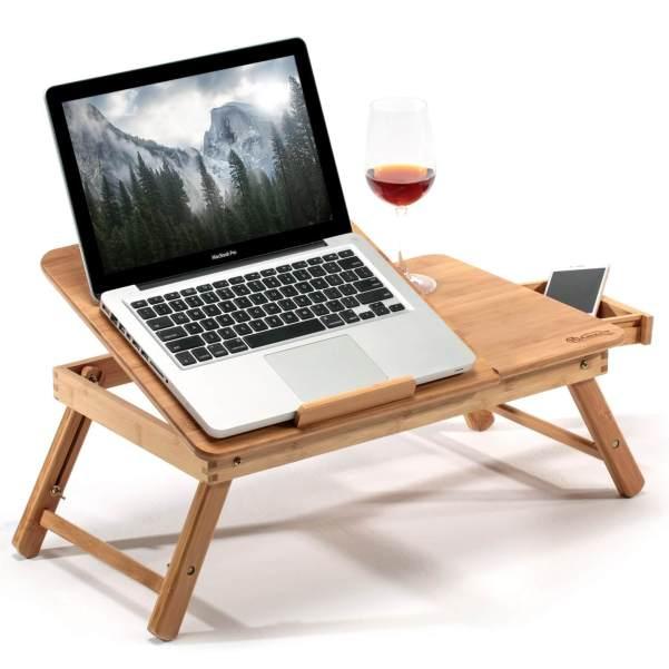 support ordinateur portable bois teletravail