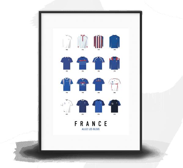 poster maillots equipe de france de football historiques cadre