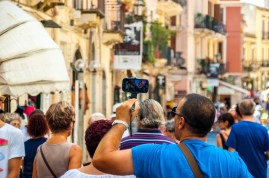 Could we please all stop with the selfie-stick madness?! Taormina, Sicily