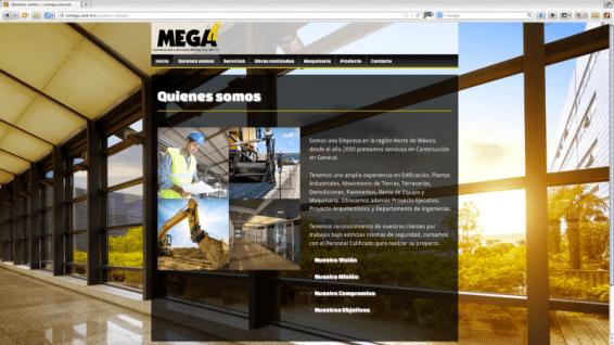 Diseño gráfico del sitio web para Construcciones y Servicios Mega. Torreón, Coahuila. Realizado sobre plataforma Word Press.