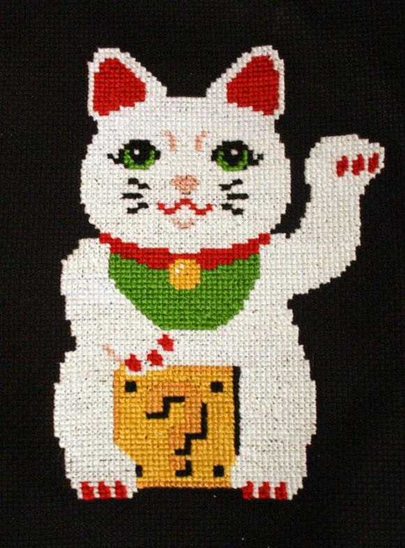 Lucky Pixel Kitty Cross Stitch from Hugs are Fun