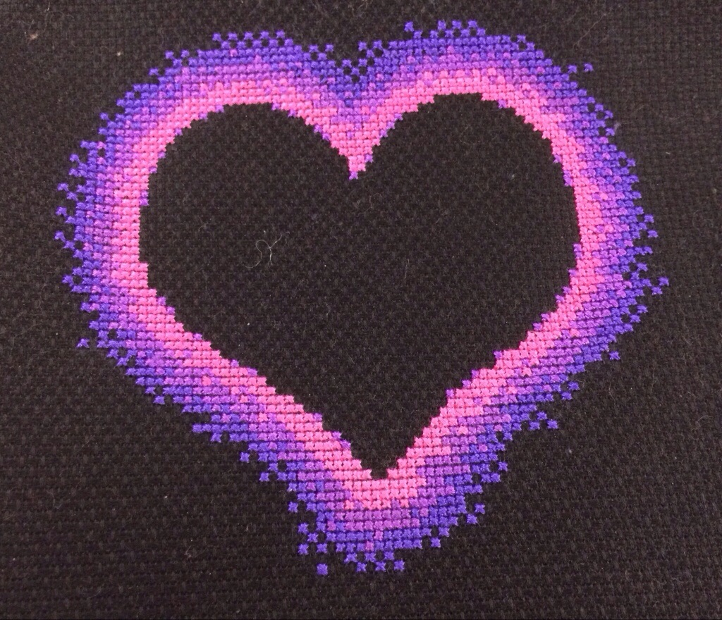 Modern Valentine Heart Cross Stitch by Hugs are Fun
