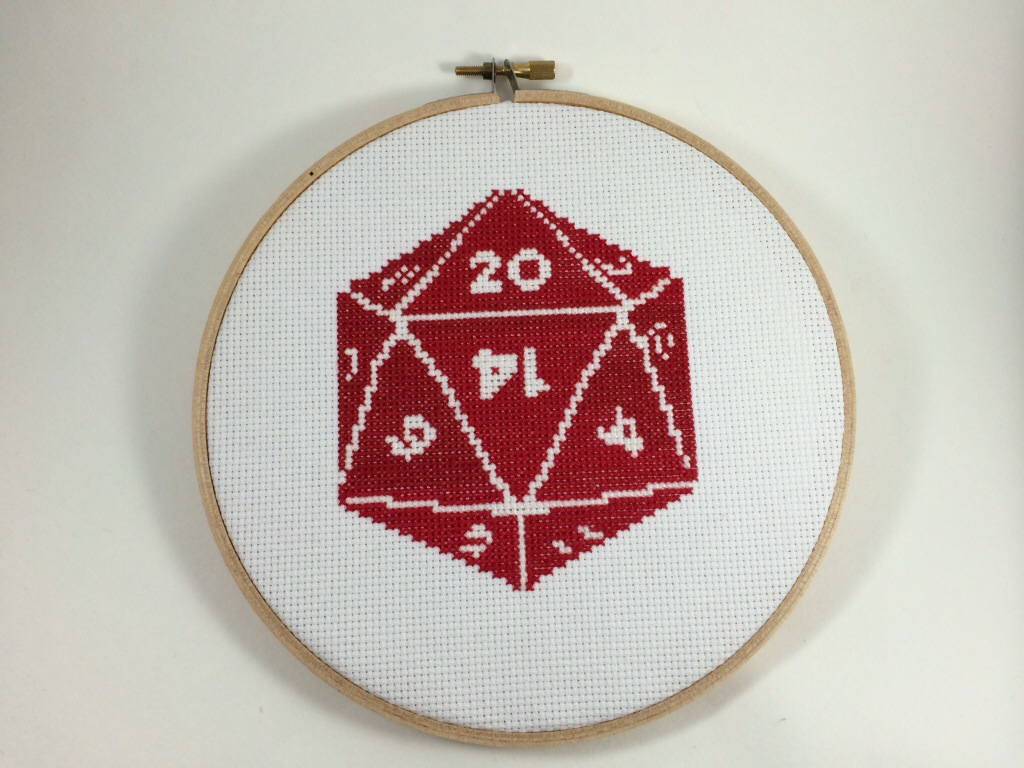 20 Sided Die Cross Stitch by Hugs are Fun