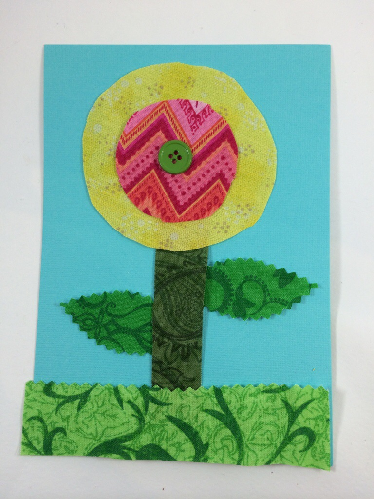 Fabric Flower Card by Hugs are Fun