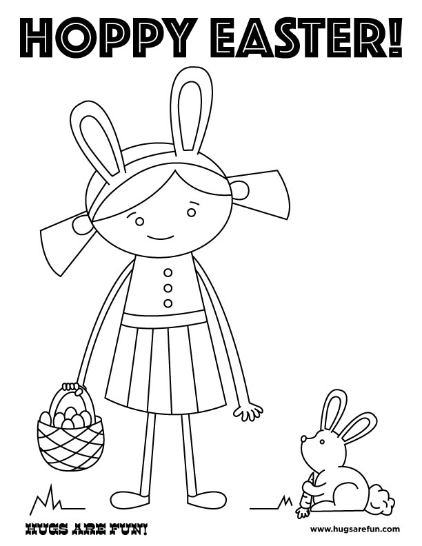 Hoppy Easter! A Free Easter Coloring Page from Hugs are Fun