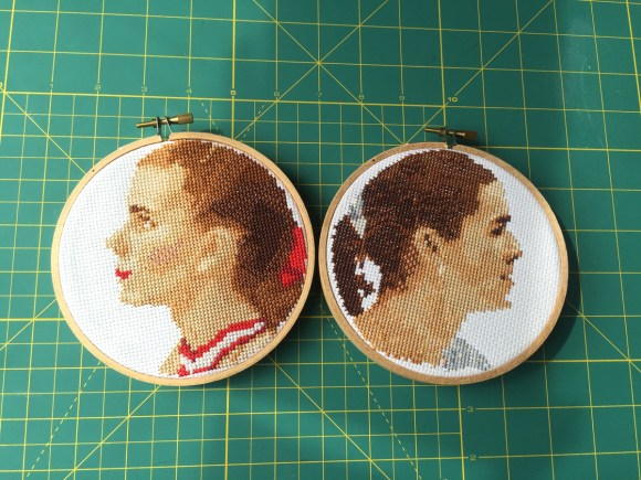 Tonya Harding and Nancy Kerrigan Cross Stitches from Hugs are Fun