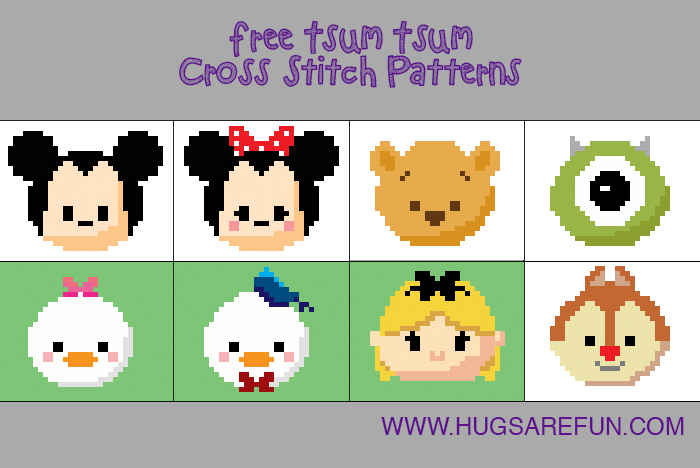 Free Cross Stitch Patterns - Tsum Tsum from Hugs are Fun
