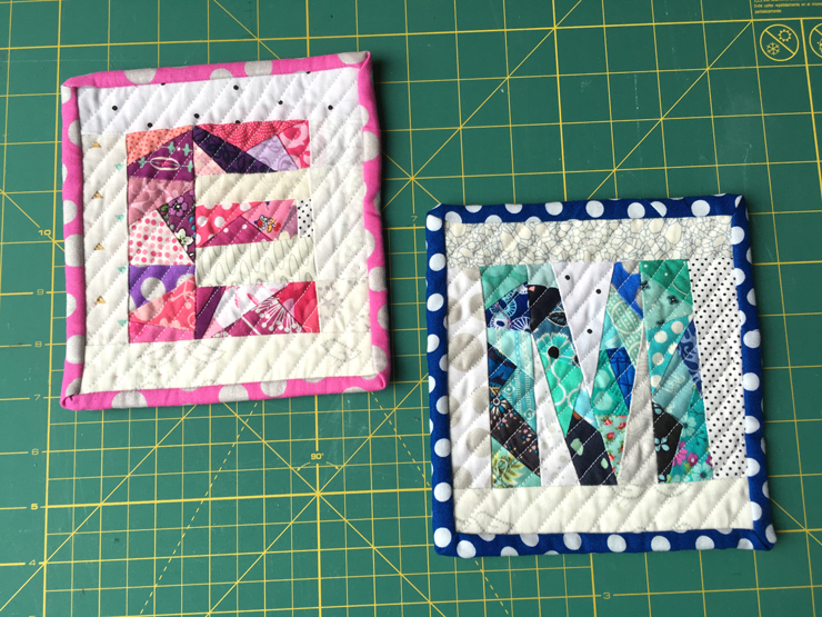 Paper Pieced Monogram Mini Quilts from Hugs are Fun