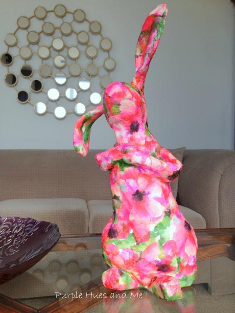 decoupaged paper mache bunny