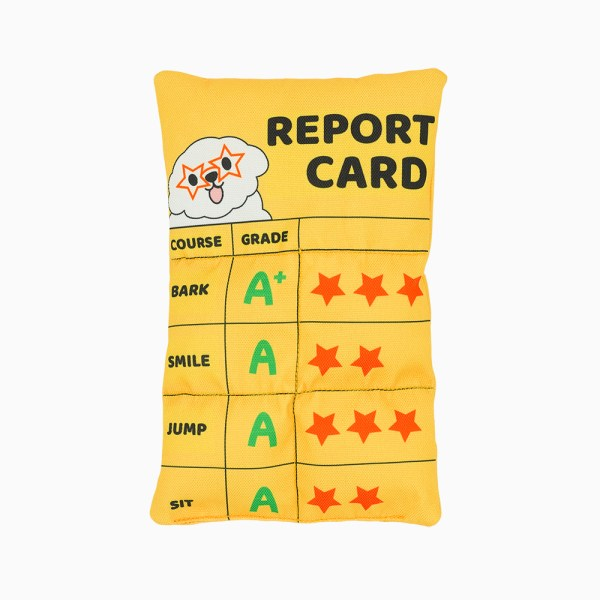 a yellow straight report card toy for dog