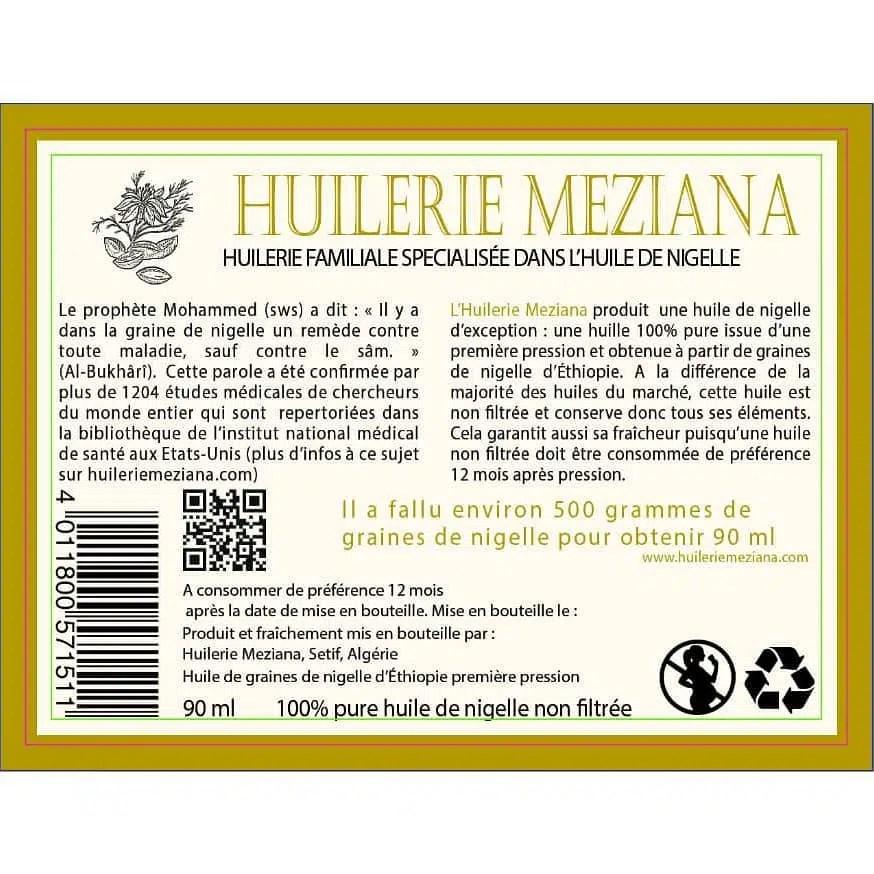 L'étiquette de derrière de notre huile de nigelle