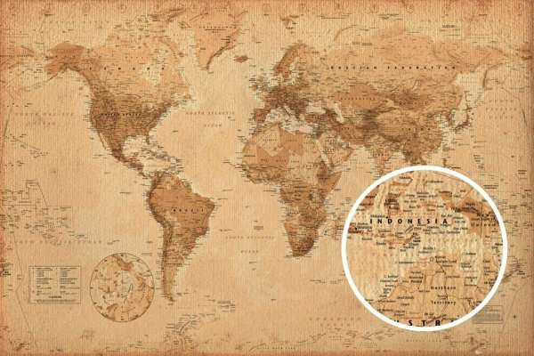 GBeye World Map Antique Style Poster 91,5x61cm