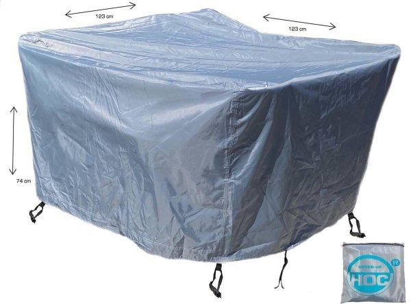 COVER UP HOC - Diamond hoes tuinmeubelen- 123x123x74 cm - tuinset beschermhoes waterdicht met Stormbanden, Trekkoord en Afwaterings HOCCIE - Zilvergrijze hoes tuinmeubels