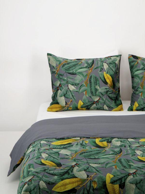 HEMA Dekbedovertrek - Hotel Katoen Satijn - Tropische Bladeren Grijs (grijs)