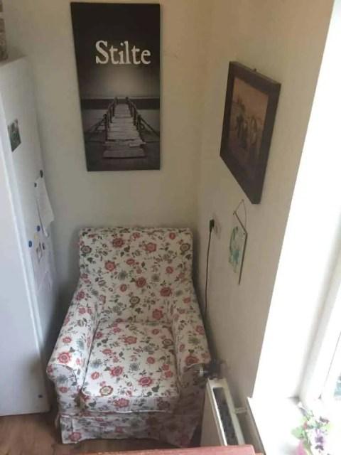 jennylund fauteuil Ikea met bloemenhoes