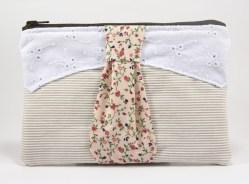 Pochette cravate beige et rose
