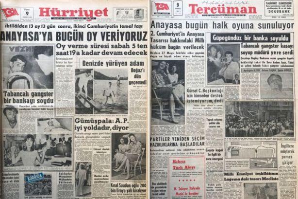 Mümtaz Soysal'ın hazırlanmasında katkısı bulunan 1961 Anayasasına ilişkin oylamanın gazetelerdeki yansıması