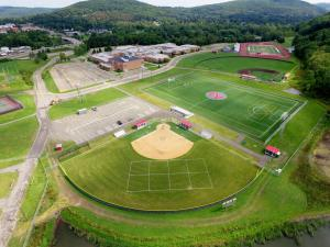 aerial view of school baseball and soccer fields - aerial-view-of-school-baseball-and-soccer-fields