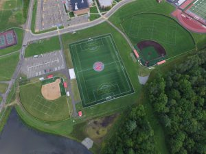 aerial view of sports fields behind a school - aerial-view-of-sports-fields-behind-a-school