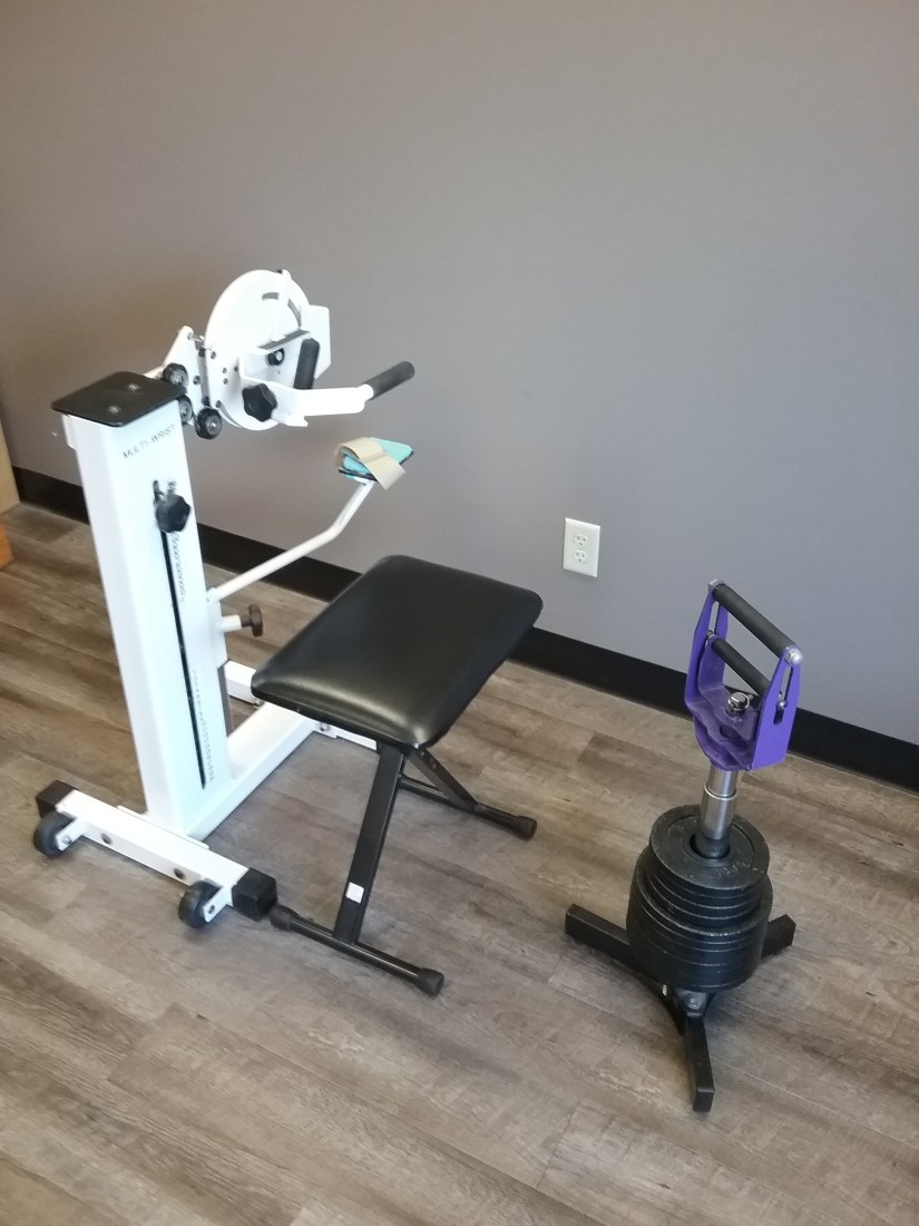 The Multi-Wrist weight machine and Jackhammer are used to build wrist and grip strength.
