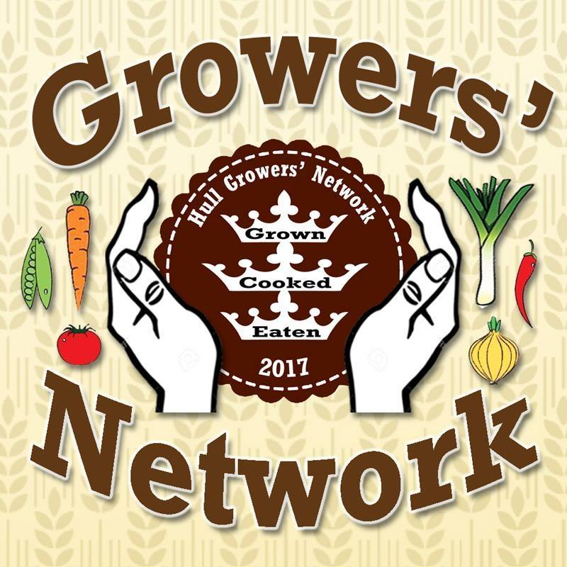 Grower's Network logo with Hull crest in the middle, two hands encasing the crest, and vegetables decorating he outer edge.