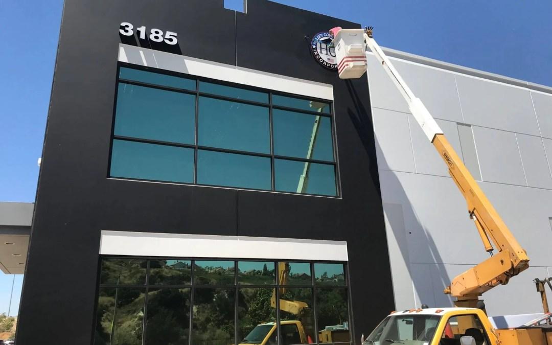 Hulsey Contracting Inc. Corona, CA Office Sign Installation