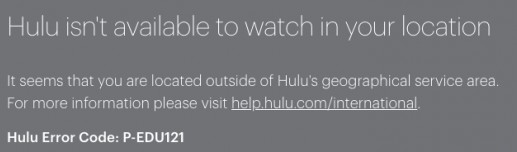 P-EDU121 error on Hulu