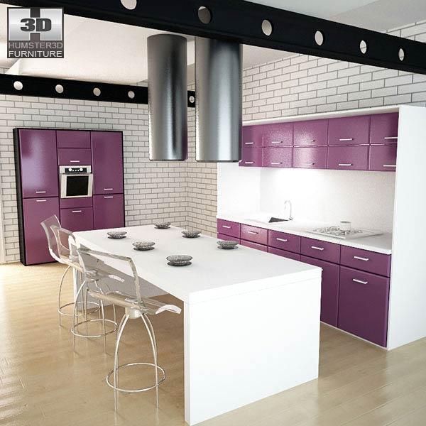 Kitchen Set I3 3D model - Furniture on Hum3D on Modern:8-Rtxafges8= Model Kitchen  id=90164