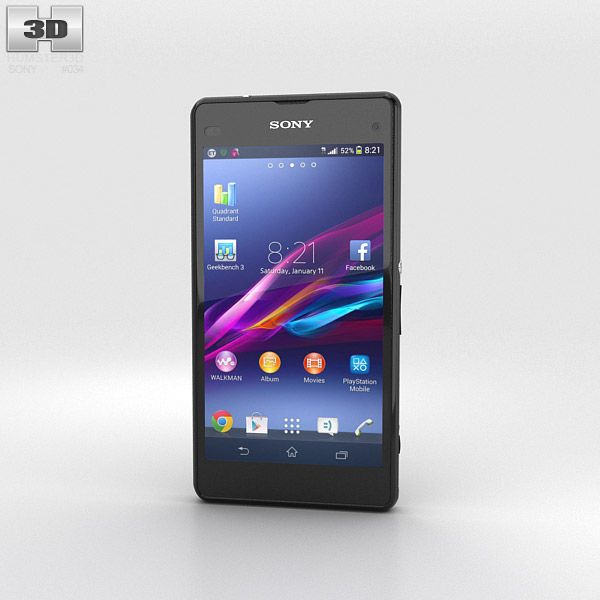 Sony Xperia Z1 Compact Black 3D model - Electronics on Hum3D