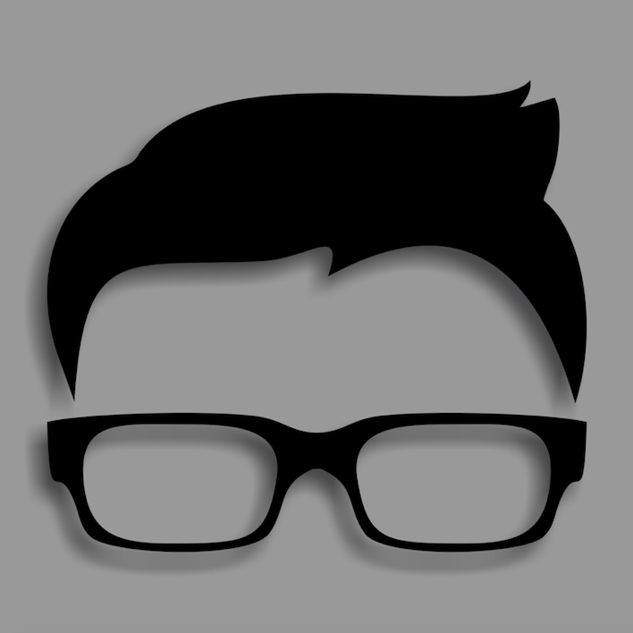 hair and glasses black and grey