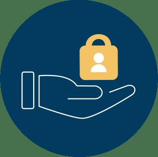 hand holding yellow user lock