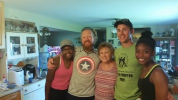 Gay, the woman in this photo, invited the group to her house for breakfast the morning they packed up their tents in Hastings, Iowa. (L-R) Tamisha, Barry, Gay, Austin, and Tierra.