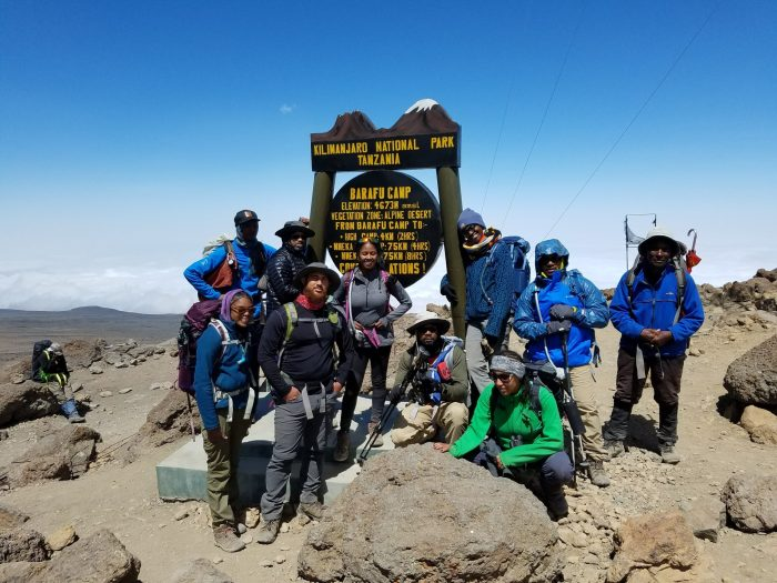 Outdoor Afro's Mt. Kilimanjaro team posing at the summit
