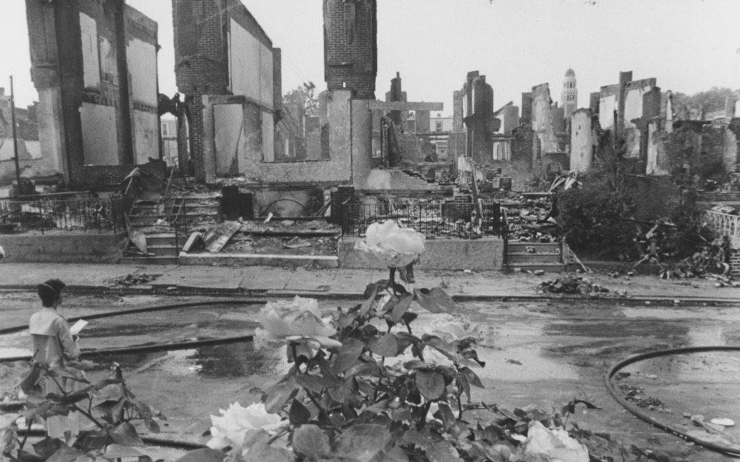 Fire-tinged flowers on Pine Street in the aftermath of the fire in which eleven MOVE members died and 51 houses were destroyed on May 13, 1985. The Philadelphia Inquirer and Temple University Urban Archives