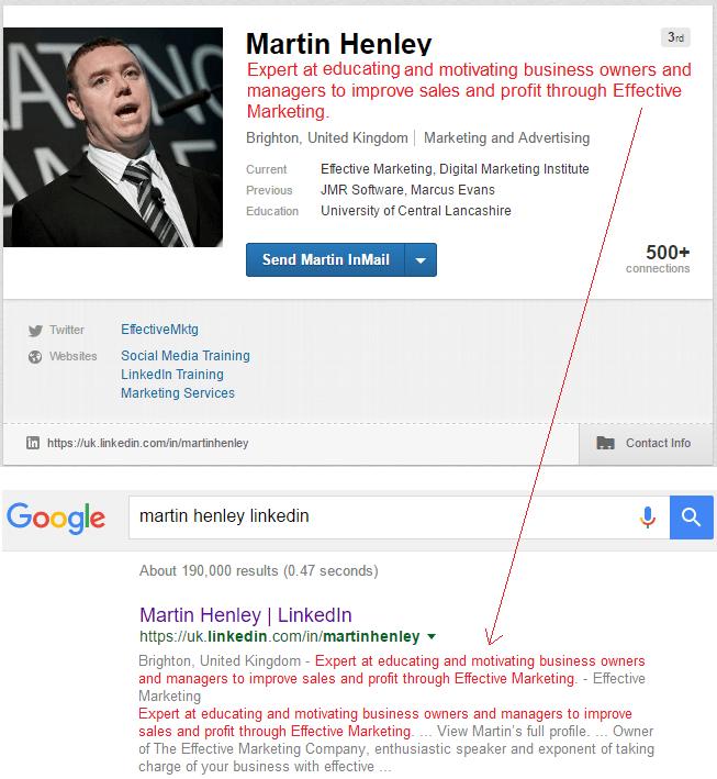 Martin Henley of Effective Marketing on Linkedin