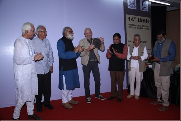 Prof. Anil Nagrath, Secretary General IAHH, Emeritus Professor Madhav Deobhakta, President, World Society of Ekistics, Prof. Akhtar Chauhan, Founder President, IAHH; Architect Divya Kush, President, Indian Institute of Architects; Prof. M.N. Ashish Ganju and Prof. Anand Achari at the IAHH Awards function.
