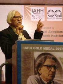 "Ar. Y. D. Mistry, IIA Vadodara Centre, suggesting that Prof. B. V. Doshi is ""Bhishma Pitamah""of architectural profession."