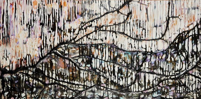 """""""Ode No.3"""" 24""""x48"""" encaustic and natural materials on panel"""